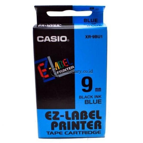 Casio Ez Label Printer Xr-9Bu1 9Mm Black On Blue Tape Cartridge Office Equipment