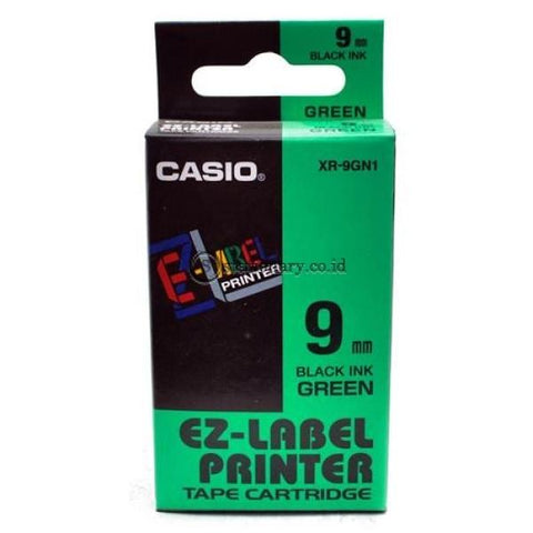 Casio Ez Label Printer Xr-9Gn1 9Mm Black On Green Tape Cartridge Office Equipment