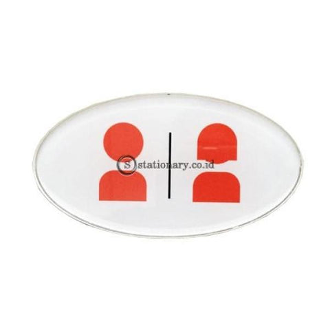 Chromed Sign Oval Restroom 8 X 15 Cm Office Stationery Digital & Display