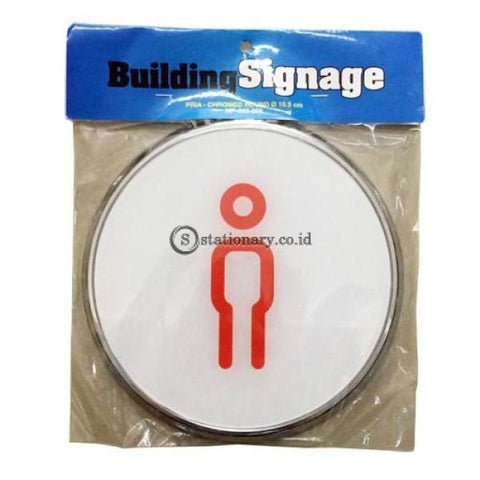 Chromed Sign Round Pria Diameter 16.5 Cm Office Stationery Digital & Display