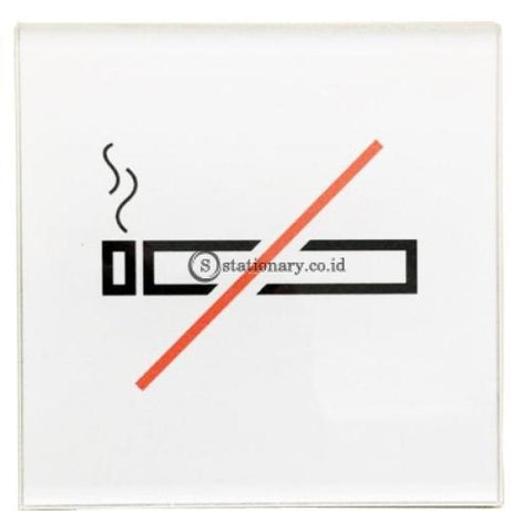 Chromed Sign Square No Smoking 12 X Cm Office Stationery Digital & Display