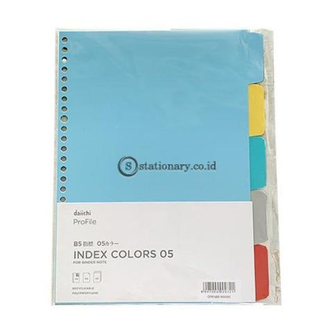 Daiichi Index Colors Divider 5 Warna Plastik B5 Dpr16B5-Mix005 Office Stationery