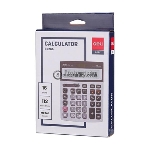 Deli Calculator Check Correct 16 Digits Metal WE39265