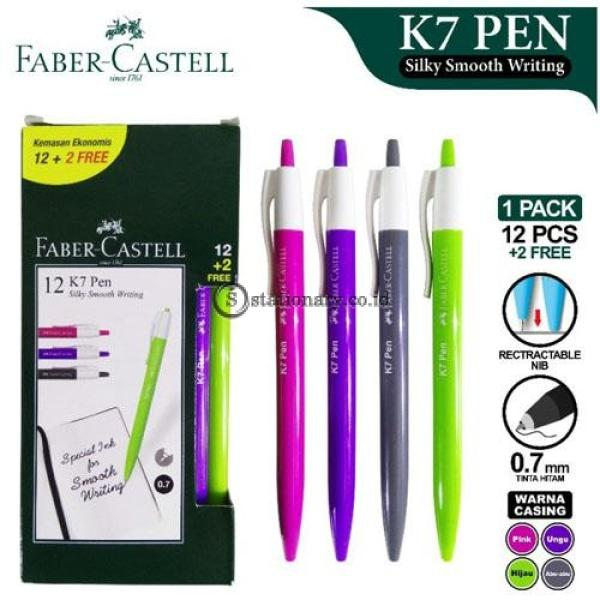 Faber Castell Ballpoint Silky Smooth Writing K7 Pen 0.7Mm (Isi 12+2Pcs) Office Stationery