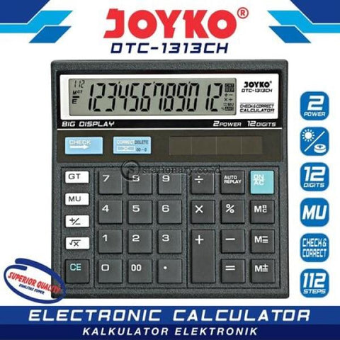 Joyko Kalkulator 12 Digit Check Correct Dtc-1313Ch Office Stationery
