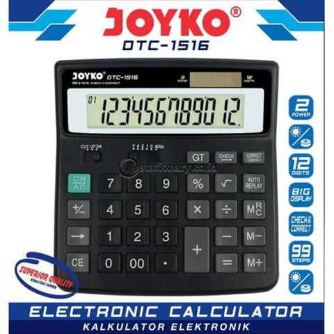 Joyko Kalkulator 12 Digit Check Correct Dtc-1516 Office Stationery