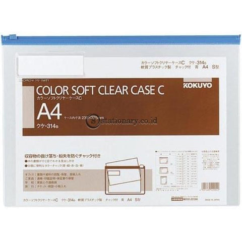 Kokuyo Soft Clear Case A4 Kuke-314 Kokuyo Kuke-314-Blue Office Stationery