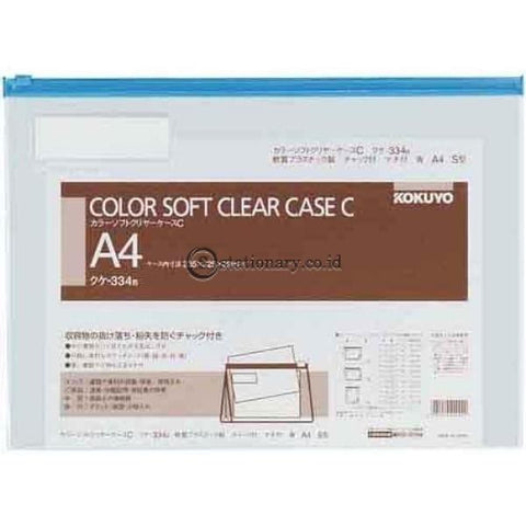 Kokuyo Soft Clear Case A4 Kuke-334 Kokuyo Kuke-334-Blue Office Stationery