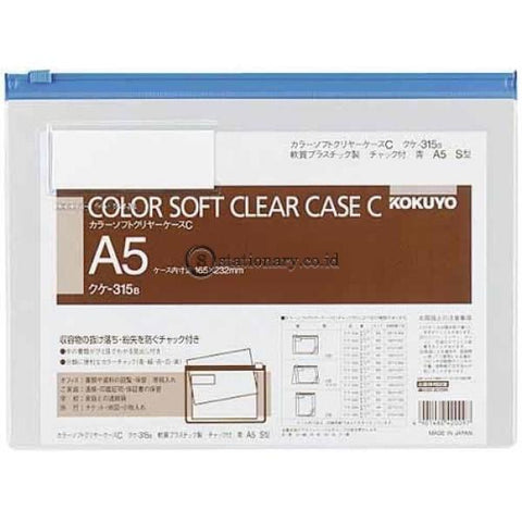 Kokuyo Soft Clear Case A5 Kuke-315 Kokuyo Kuke-315-Blue Office Stationery