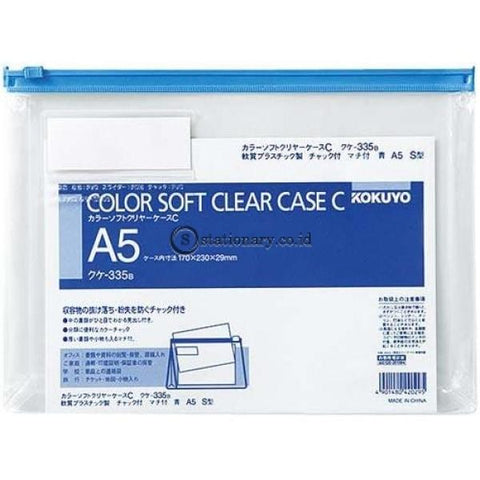 Kokuyo Soft Clear Case A5 Kuke-335 Kokuyo Kuke-335-Blue Office Stationery