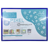 Pixel Card Case Magnetik With Frame A4 Biru Office Stationery Promosi