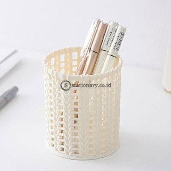 (Preorder) Creative Imitation Rattan Plastic Pen Container Simple Pure Color Hollow Desktop Pencil