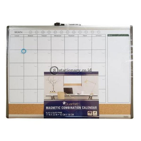 Quartet Planner Whiteboard Magnetik Calendar Combination Cork Board Arc Frame 43Cm X 58Cm #79372