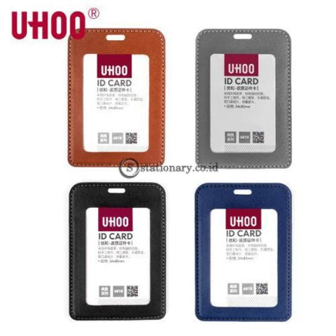 Uhoo Id Card Holder Leather Badge Potrait 54 X 85Mm #6818 Black Office Stationery