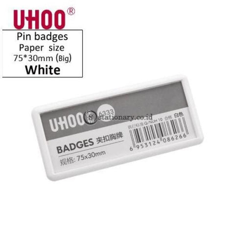 Uhoo Name Plate Pin Badges Clip 75X30Mm #6333 Office Stationery