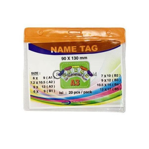 Yushinca Plastik Id Name Tag 90 X 120Mm Landscape A3 (20 Lembar) Office Stationery