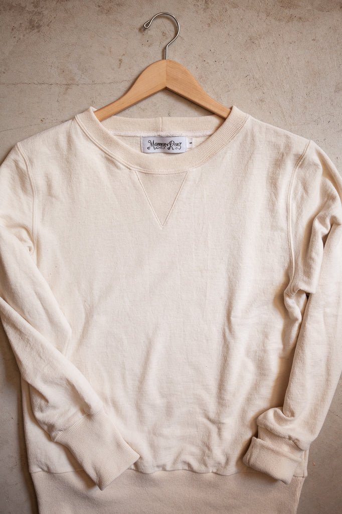 Classic V Sweatshirt, a natural white 100% preshrunk cotton sweatshirt designed by Mannan & Renz and handcrafted by Columbiaknit, Portland, OR