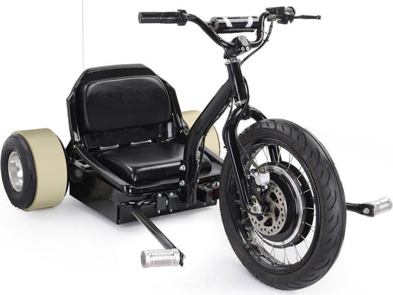 48V 500W Electric High Performance MotoTec Drifter Trike Black Ride On Kids New