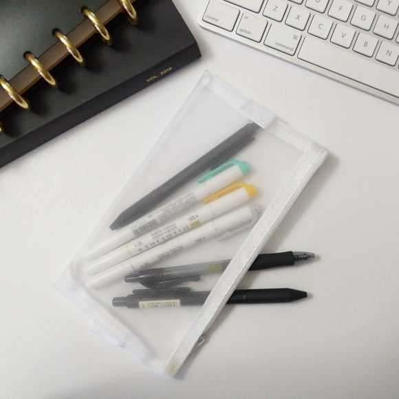 White Mesh Pencil Pouch