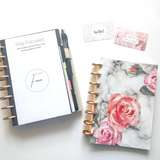 Marble Watercolor Floral Goal Notebook