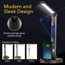 Load image into Gallery viewer, LumiCharge II- All in One LED Desk Lamp, 10W Wireless Charger and Universal Phone Charger & More