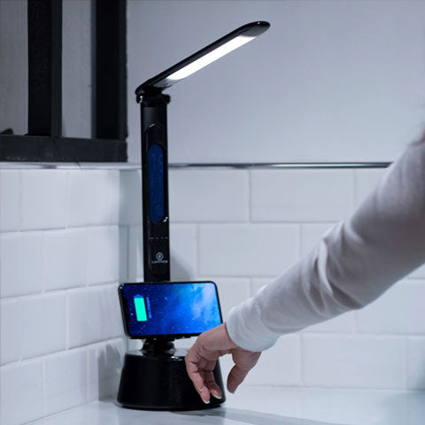 LumiCharge-T2W- LED Desk Lamp with Bluetooth Speaker & Wireless Phone Charger