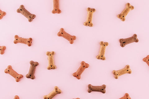 Dog treats scattered on a pink background.
