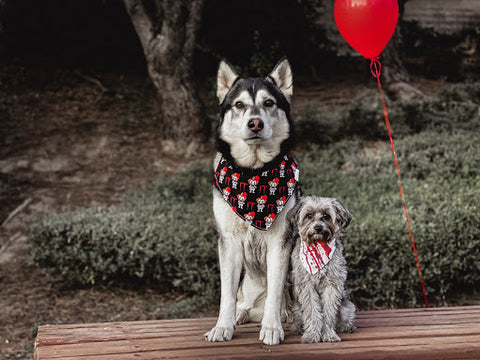 Two dogs wearing bandanas featuring the IT clown.