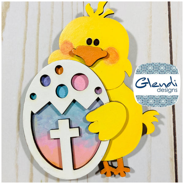 Easter chick with easter egg wooden interchangeable HOME sign icon - Glendi Designs