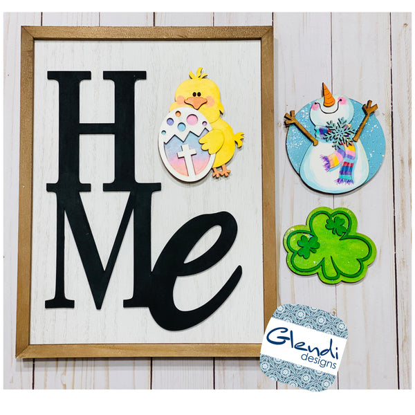 Home Sign Interchangable wood sign with 6 unpainted magnets - Glendi Designs