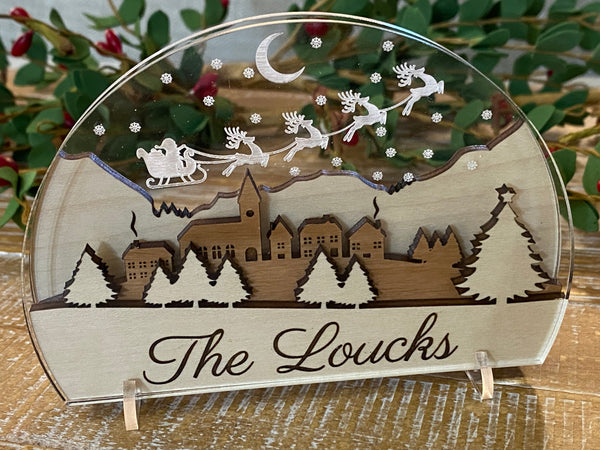 Personalized engraved acrylic and wood Christmas Scene with Santa sleigh and reindeer - Glendi Designs