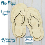 Summer beach and pool flip flops wooden interchangeable HOME sign icon - Glendi Designs