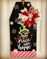Snowman chalkboard door tag snowplace like home