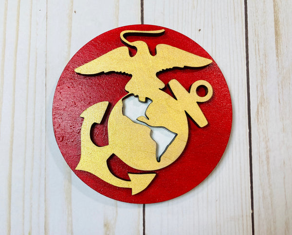 Marines logo wooden interchangeable HOME sign magnet