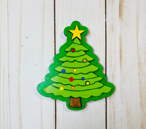 Christmas tree  wooden interchangeable HOME sign icon - Glendi Designs