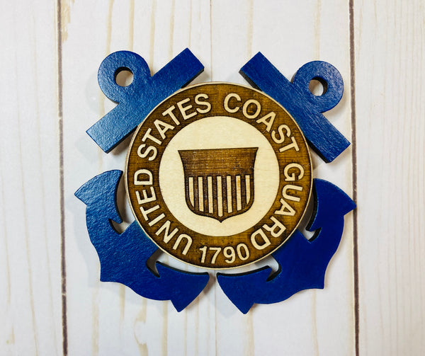 Coast Guard logo wooden interchangeable HOME sign magnet