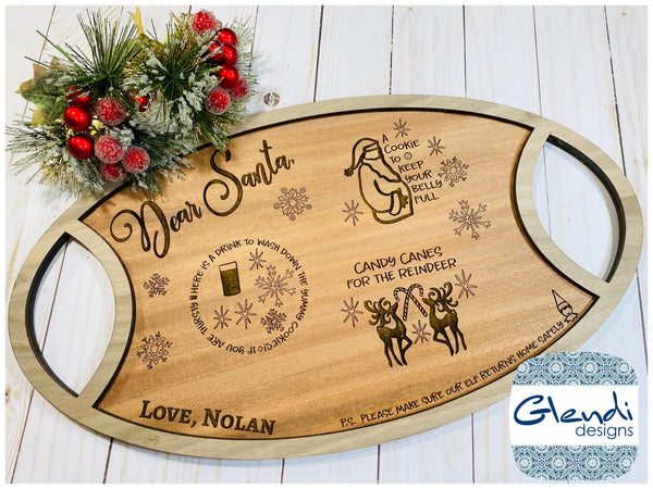 Santa cookie and milk tray Reindeer food tray personalized engraved - Glendi Designs