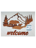 Reclaimed Pallet, Bear and Mountain WELCOME sign - Glendi Designs