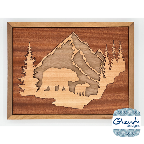 Wood inlay Mountain scene sign with mama bear and baby bear in woods - Glendi Designs