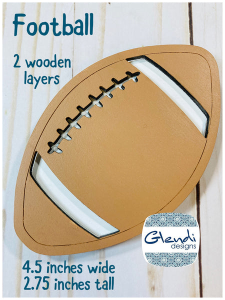 Football wooden interchangeable HOME sign icon - Glendi Designs