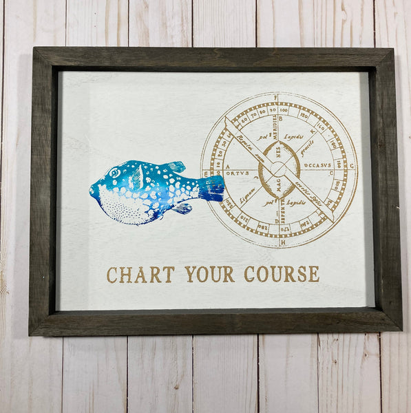 Coastal themed Beach Themed fish artwork on rustic wood frame