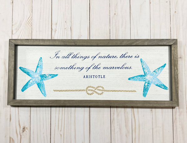 Starfish Beach Decor Ocean Decor Coastal Decor with this starfish and an Aristotle quote - Glendi Designs