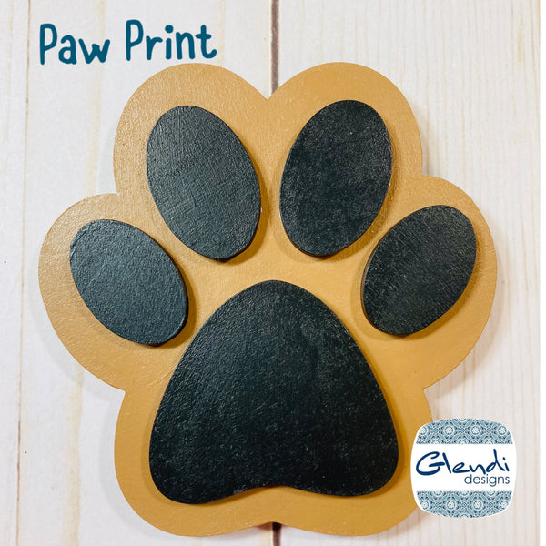 Dog Puppy Paw Print wooden interchangeable HOME sign icon