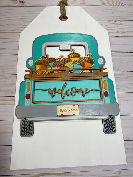 Interchangeable Vintage Truck Wood Welcome Door Sign Already Painted with 5 Interchangeable Pieces - Glendi Designs