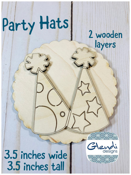 Party hats birthday hat new years eve hats wooden interchangeable HOME sign icon - Glendi Designs
