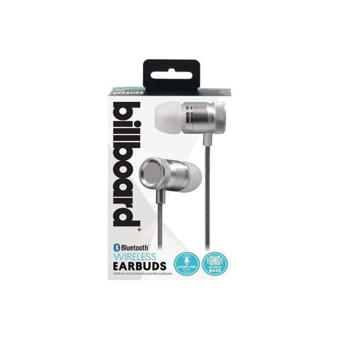 Billboard BB487 Bluetooth Metal Earbuds with Microphone (Silver)