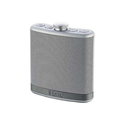 IHOME Flask-Shaped Bluetooth Stereo Speaker with Custom Sound Case (Silver)