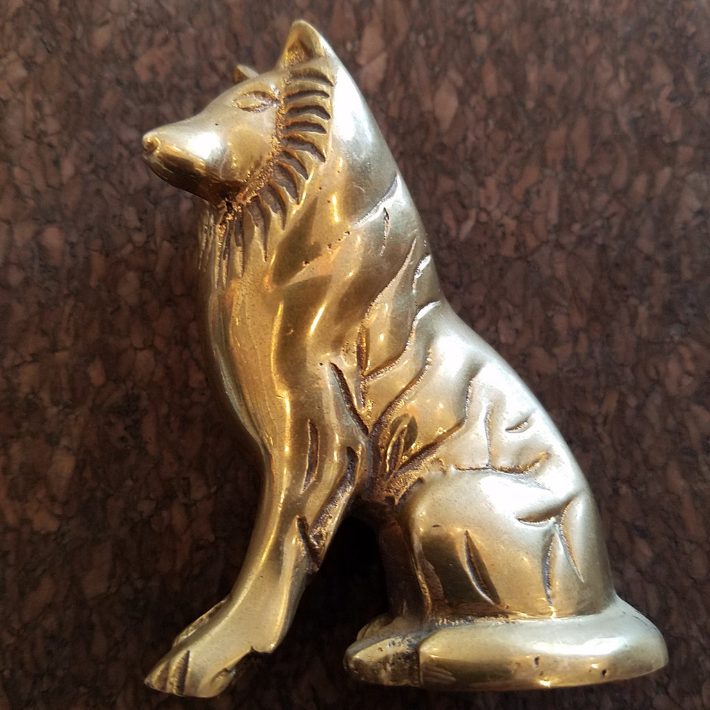 Solid Brass Rough Collie Dog
