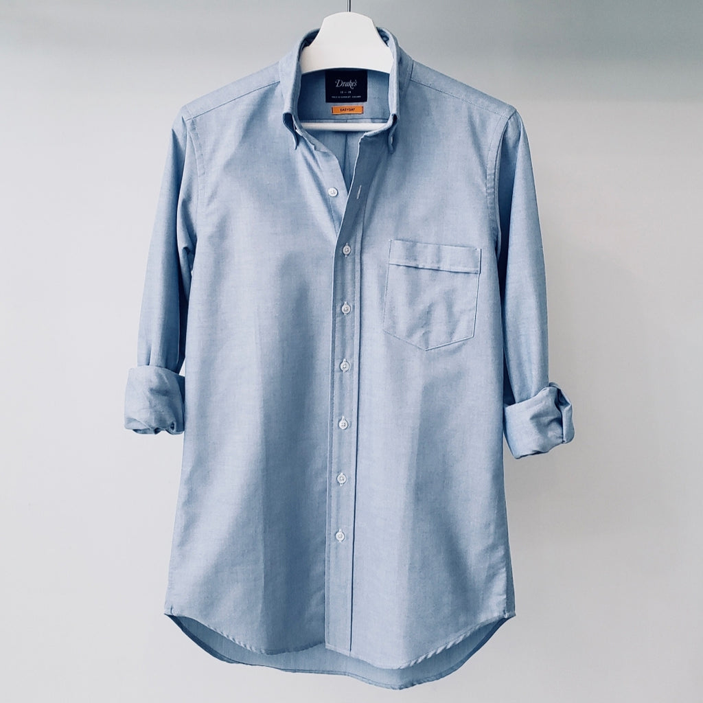 Drake's Blue Oxford Button Down Collar Shirt