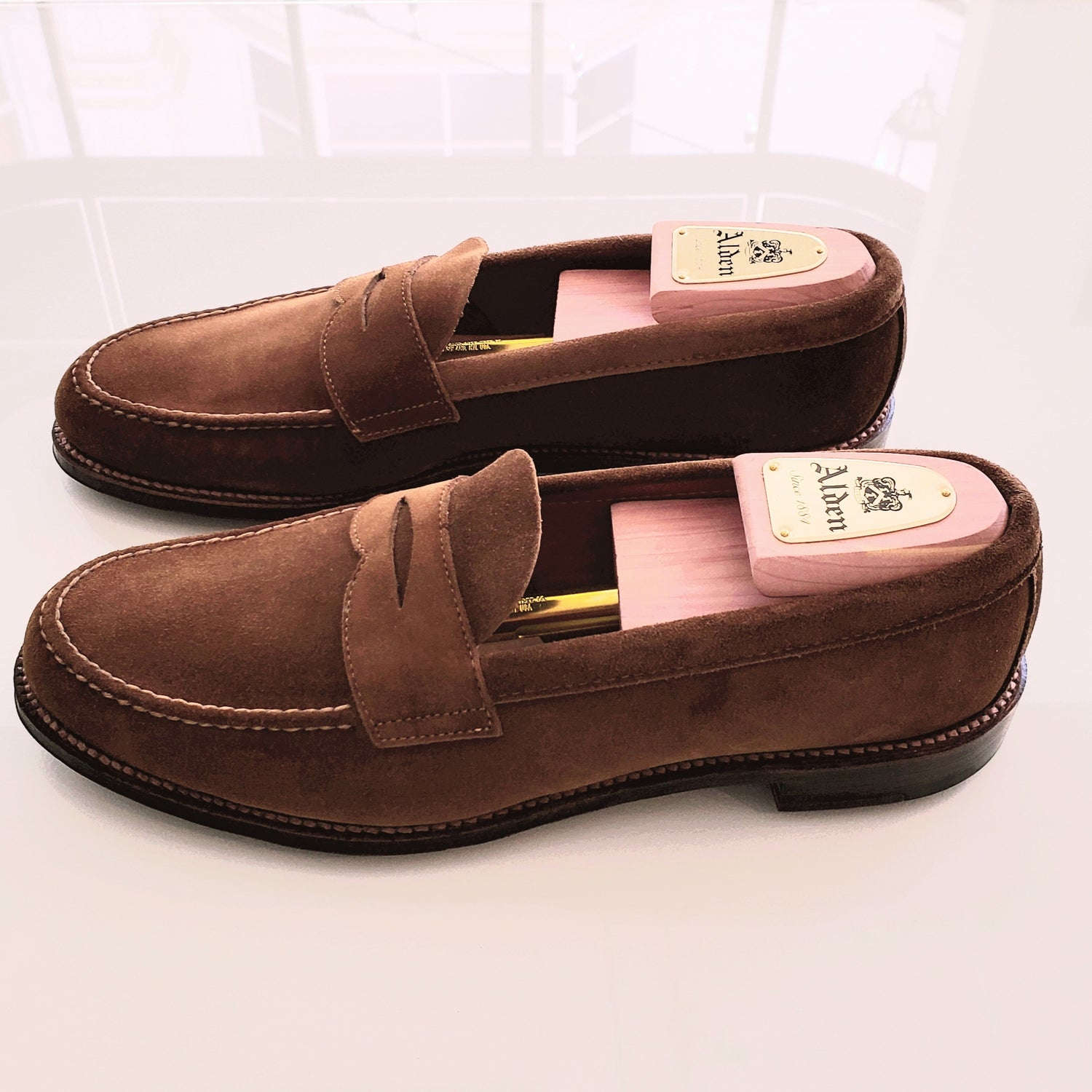 Alden Unlined Flex Snuff Suede Penny Loafers